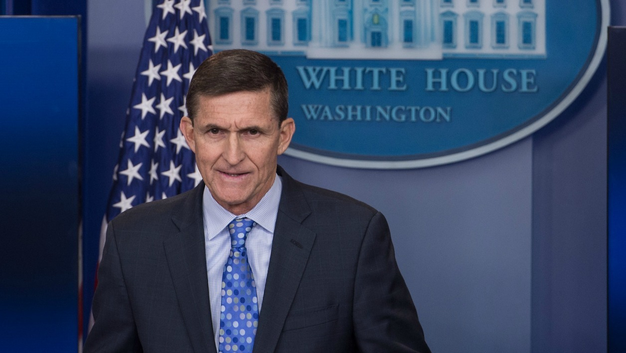 This file photo taken on February 01, 2017 shows US National Security Advisor Mike Flynn speaking during the daily press briefing at the White House in Washington, DC, on February 1, 2017. The White House announced February 13, 2017 that Michael Flynn has resigned as President Donald Trump's national security advisor, amid escalating controversy over his contacts with Moscow.