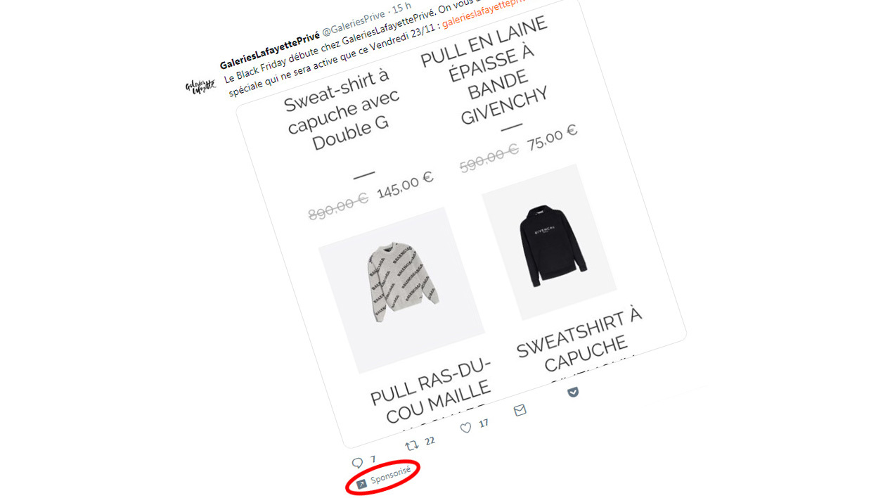 Black Friday: Twitter fait la promotion d'un faux site Galeries Lafayette