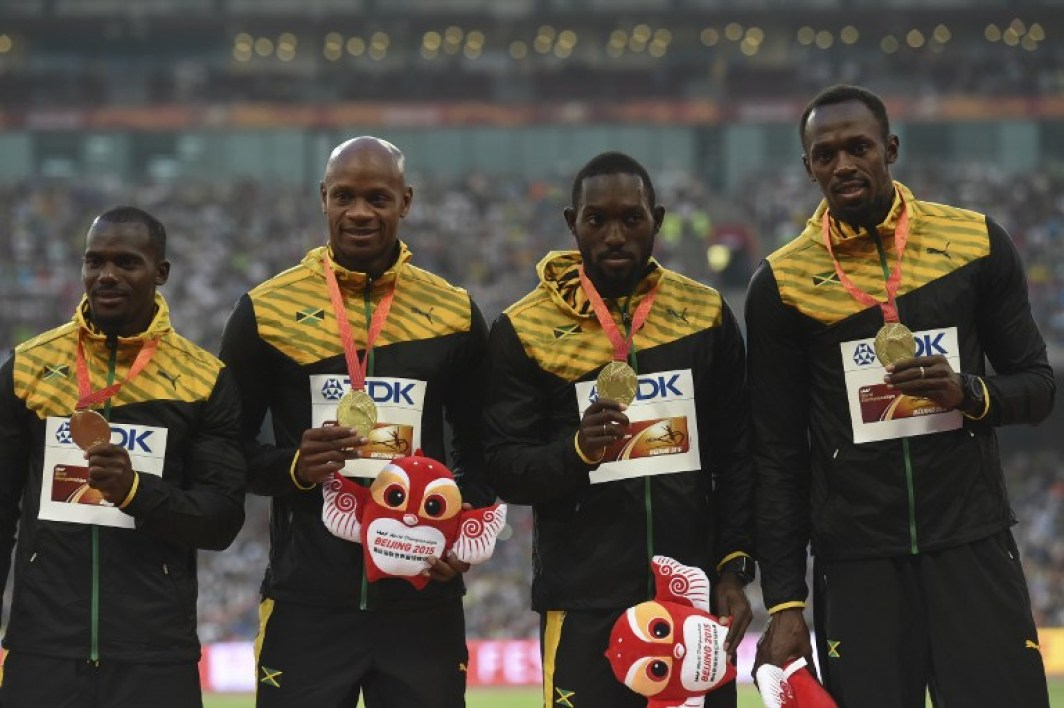 Nesta Carter, Asafa Powell, Nickel Ashmeade et  Usain Bolt