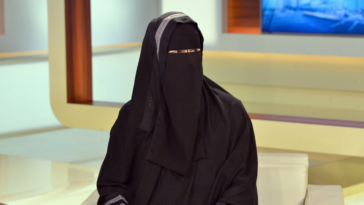 Nora Illi, the women's representative of an unofficial group called the Islamic Central Committee of Switzerland, wears a niqab as she attends a Sunday night talkshow on November 6, 2016 in Berlin. German public broadcaster ARD came under fire on November 7, 2016 for allowing Illi to wear a full-face veil to argue on the current affairs talkshow hosted by Anne Will