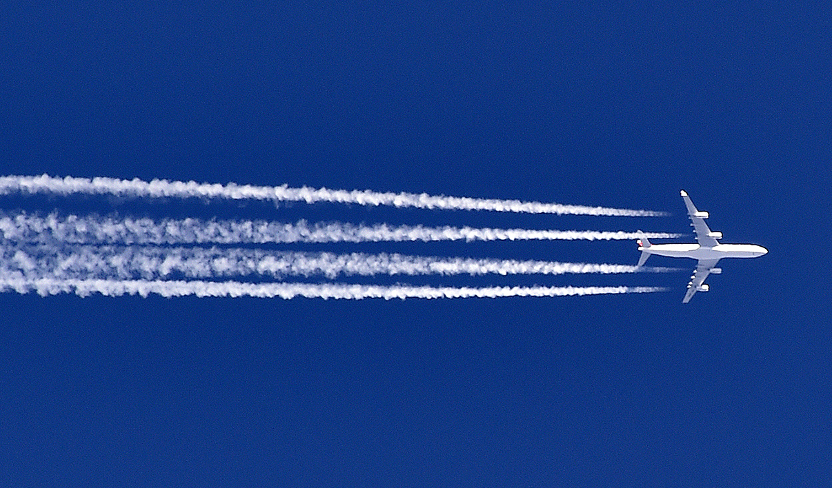 An Airbus A380 flies over the Sivens forest in the department of Tarn, southwestern France, on March 6, 2015. AFP