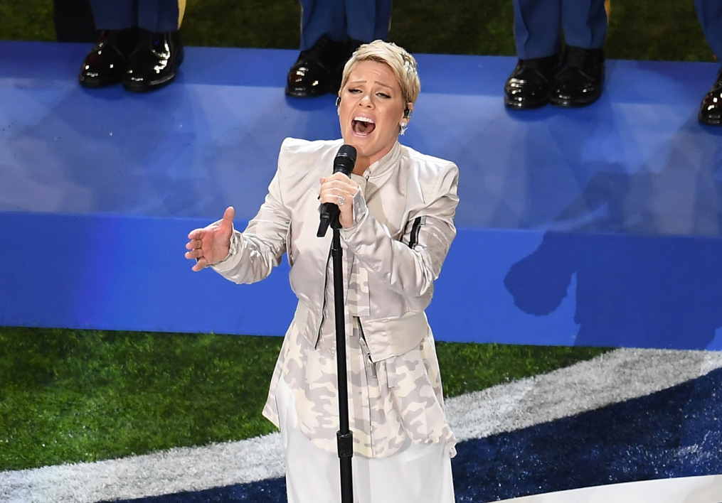 Pink à la mi-temps du SuperBowl, le 4 février 2018 à Minneapolis