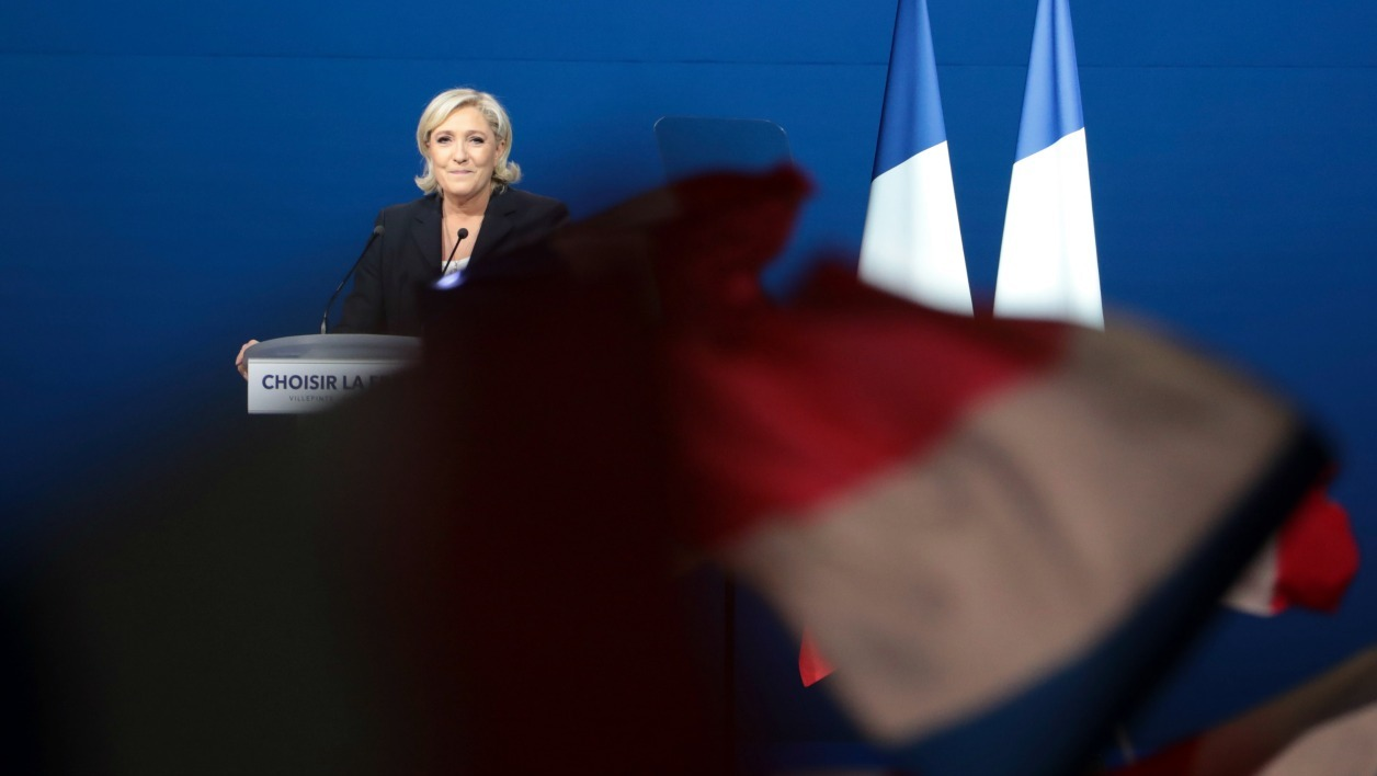 French presidential election candidate for the far-right Front National (FN) party Marine Le Pen delivers a speech during a meeting at the Parc des Expositions in Villepinte, on May 1, 2017.  joel SAGET / AFP