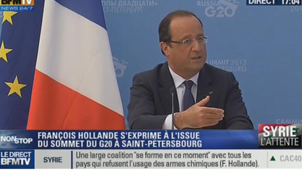 François Hollande s'exprimant à l'issue du G20, ce vendredi à St-Petersbourg.