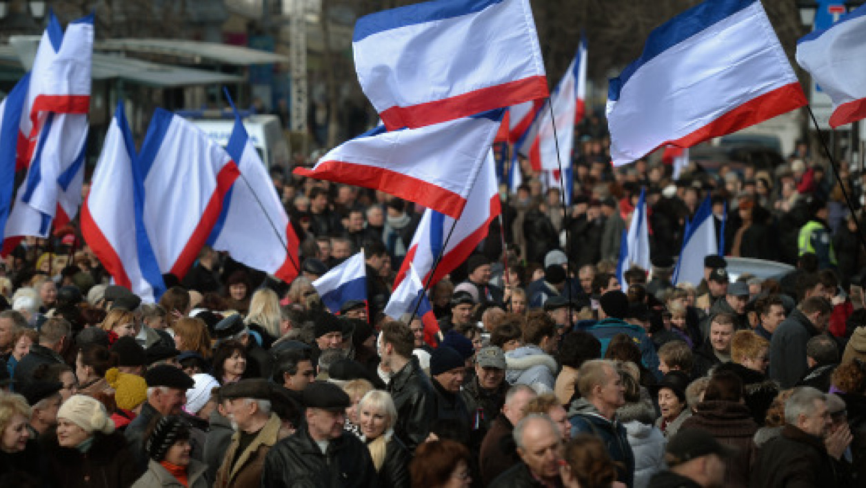 Une manifestation de pro-Russes le 8 mars, à Simferopol, en Crimée. (photo d'illustration).