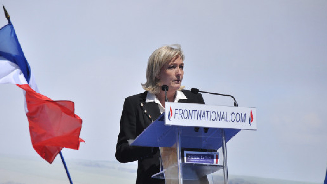 La présidente du Front national lors de son meeting du 1er mai, en 2012.