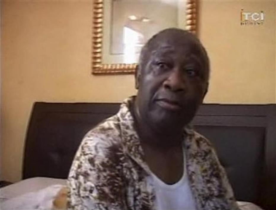 Frame grab of ivory coast's laurent gbagbo in a room of hotel golf in abidjan, after being arrested