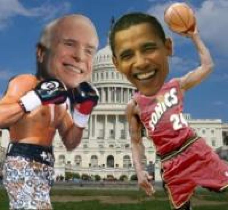 Barry Obama, le dunker, contre Joe McCain, le boxeur