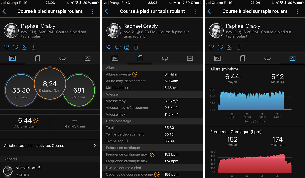 Interface de l'application Garmin Connect