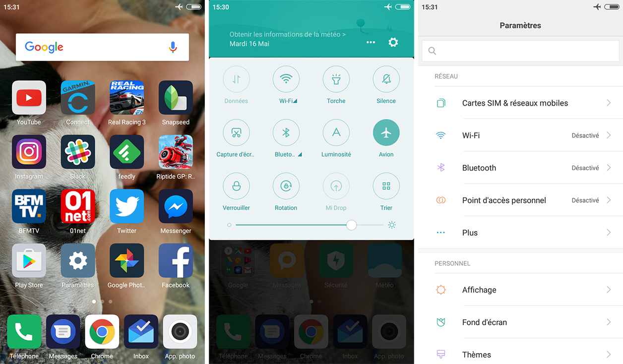 Interface du Xiaomi Redmi 4X
