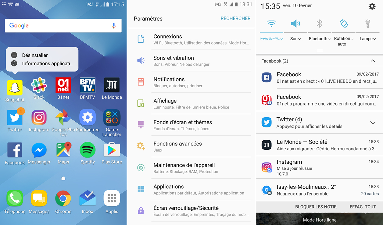 Interface du Samsung Galaxy A3 (2017)