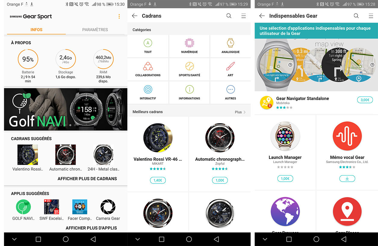 Interface de Samsung Gear Sport