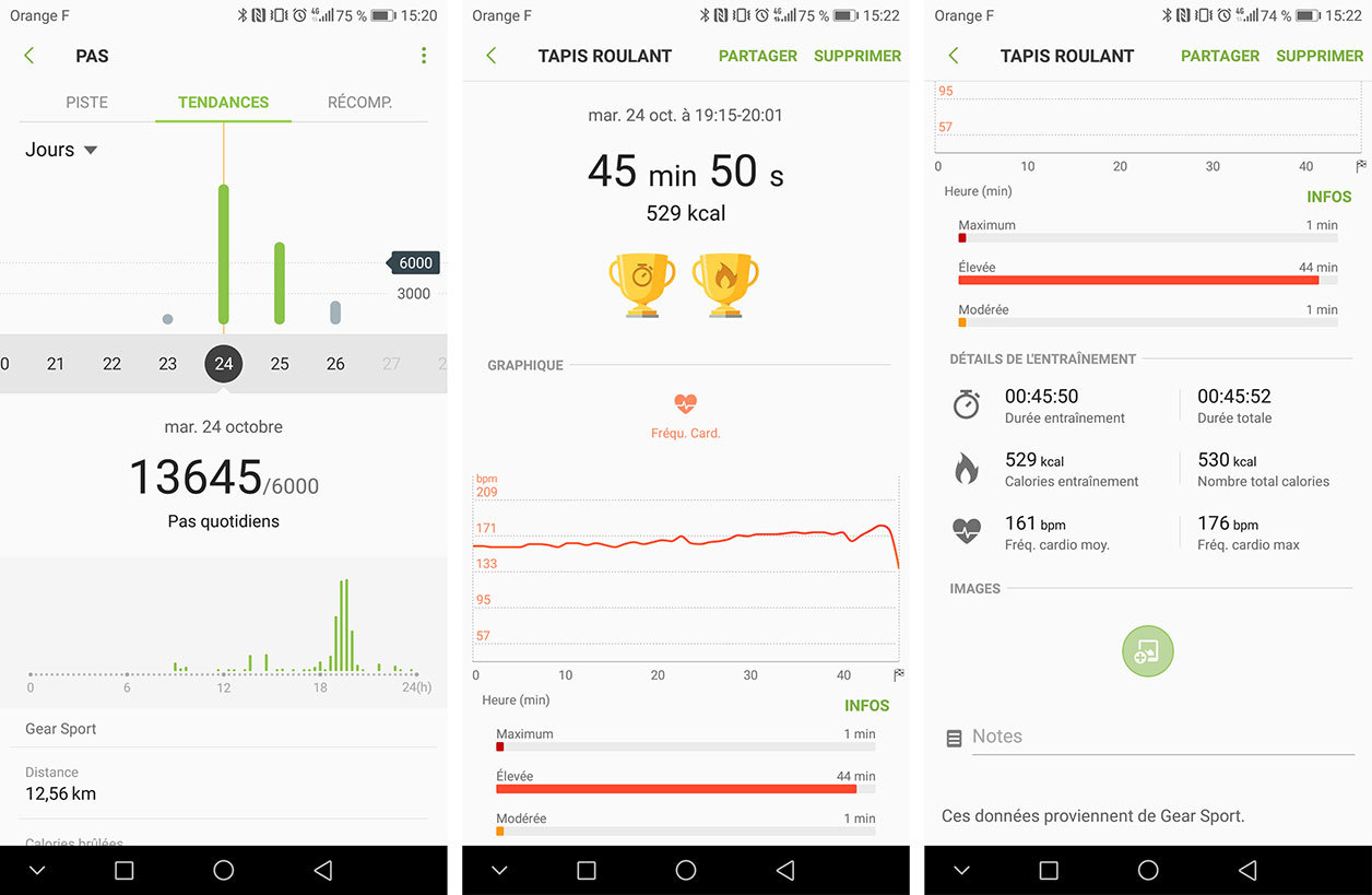Interface de Samsung Health