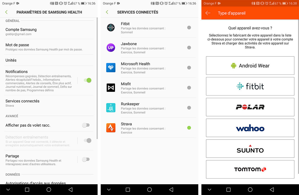 Interfaces de Samsung Health et Strava