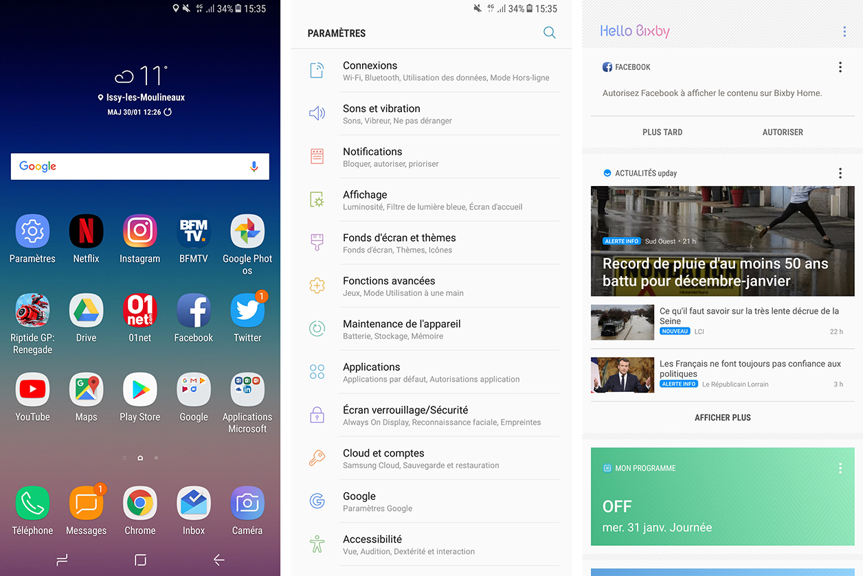 Interface du Samsung Galaxy A8