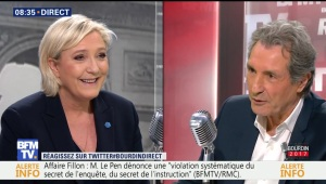 Marine Le Pen face à Jean-Jacques Bourdin en direct