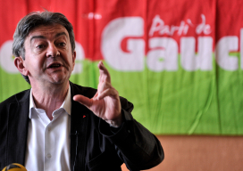 FRANCE, Saint-Martin-d'Hères : French politician Jean-Luc Melenchon gives a press conference on August 22, 2014 during the
