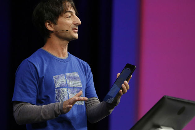 SAN FRANCISCO, CA - April 29: Joe Belfiore, corporate vice president, operating systems group at Microsoft, demonstrates Continuum for phones during the 2015 Microsoft Build Conference on April 29, 2015 at Moscone Center in San Francisco, California.