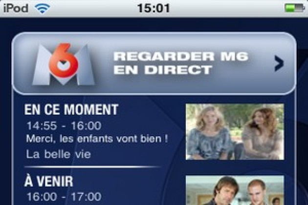 M6 en direct et en VOD sur l'iPhone et l'iPad (MAJ)