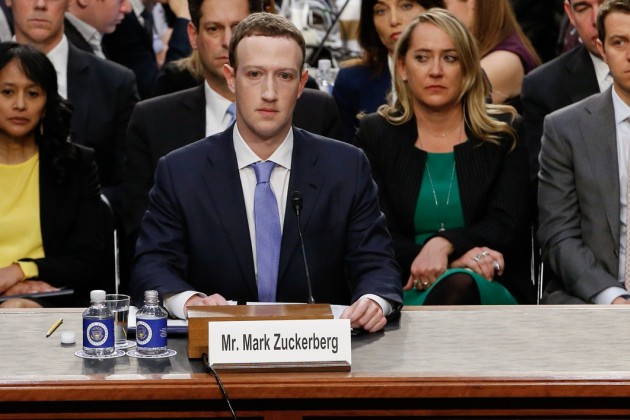 Mark Zuckerberg lors de son audition devant le Sénat le 10 avril 2018.