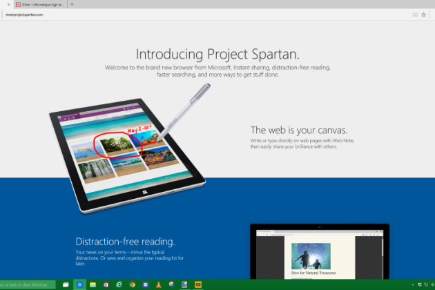 Project Spartan, le successeur d'Internet Explorer, débarque dans la nouvelle build de Windows 10