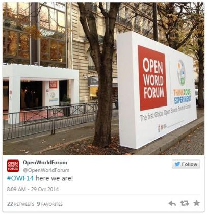 Tweet de l'entrée de l'Open World Forum 2014 à Paris