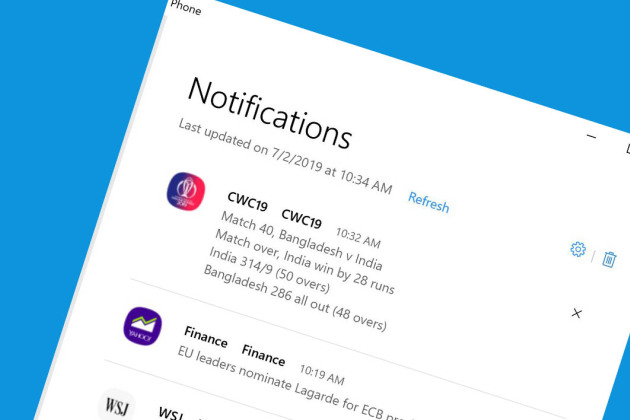Les notifications Android arrivent sur Windows 10