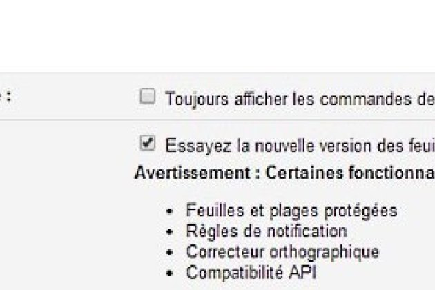 Activation de la nouvelle version du tableur Google