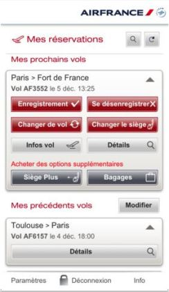 L'appli mobile d'Air France est compatible avec Passbook d'Apple
