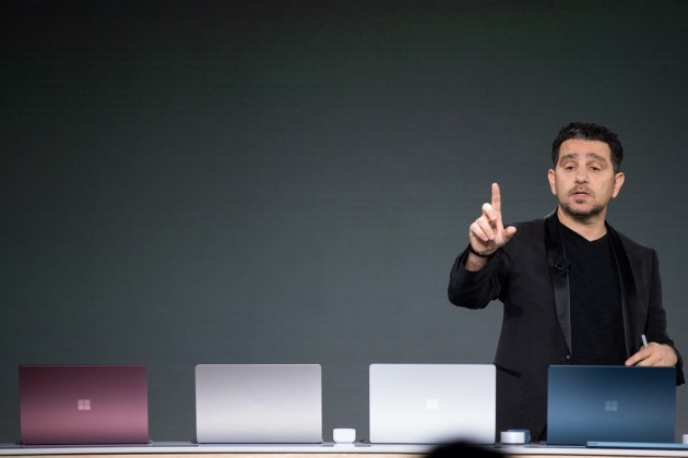 NEW YORK, NY - MAY 2: Panos Panay, vice president of Microsoft Surface Computing, speaks about the new Microsoft Surface Laptop during a Microsoft launch event, May 2, 2017 in New York City. The Windows 10 S operating system is geared toward the education market and is Microsoft's answer to Google's Chrome OS. Drew Angerer/Getty Images/AFP  Drew Angerer / GETTY IMAGES NORTH AMERICA / AFP