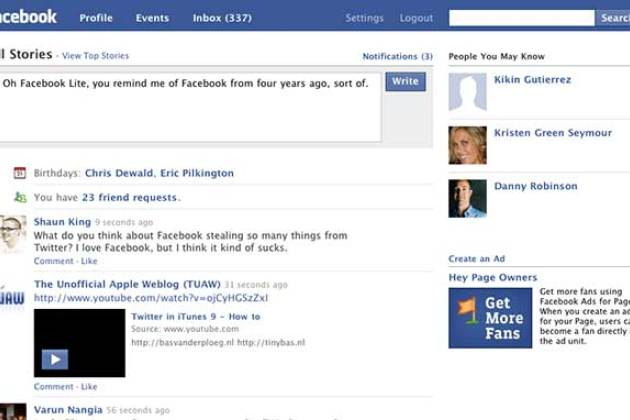 Homepage de Facebook Lite