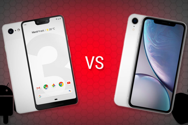 Le Pixel 3 XL de Google contre l'iPhone XR d'Apple.