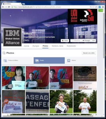 La page Facebook de l'alliance internationale des syndicats d'IBM avec la campagne Roadmap To Hell contre la stratégie Roadmap 2015