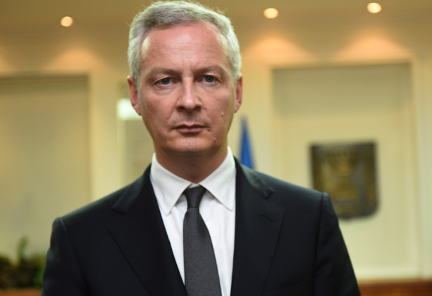 French Finance Minister Bruno Le Maire is seen at the office of Israeli Prime Minister before their meeting in Jerusalem on September 5, 2017.