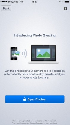 L'option Photo Syncing dans l'appli Facebook.