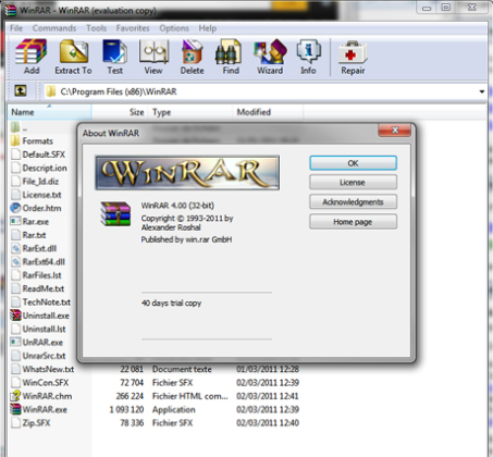 La version finale de WinRAR 4.0 à télécharger