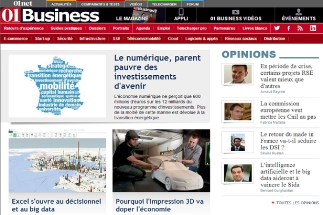 01Business dévoile la nouvelle formule de son site Internet