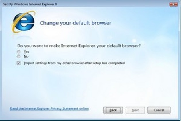 Internet Explorer 8 ne s'installera plus par défaut