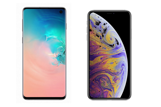 Le Galaxy S10 et l'iPhone XS.