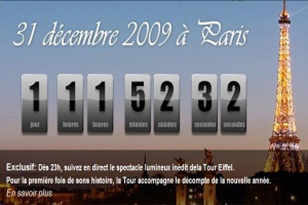 La tour Eiffel rate sur le Web le passage à 2010 (MAJ)