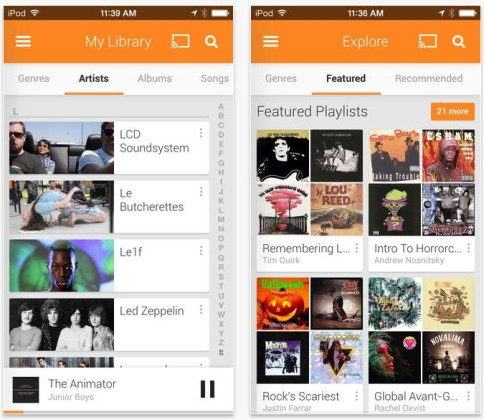 Une appli Google Play Music, disponible sur l'App Store d'Apple