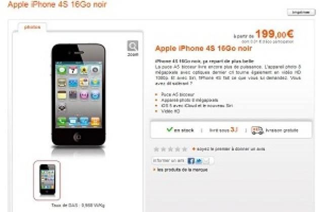 L'iPhone 4S à partir de 199 euros chez Orange