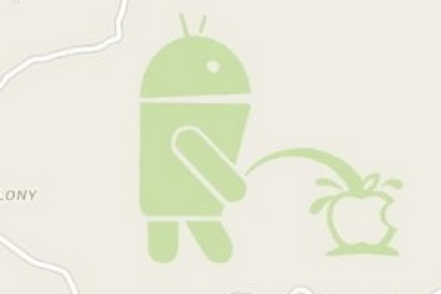 Un robot Android a uriné sur le logo d'Apple dans Google Maps