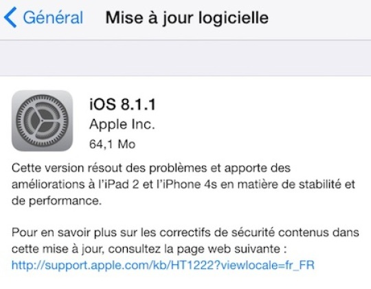 iOS 8.1.1 : Apple promet de meilleures performances pour l'iPhone 4S