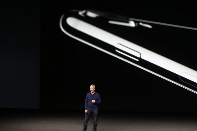 SAN FRANCISCO, CA - SEPTEMBER 07: (EDITORS NOTE: Image was created using a tilt-shift lens) Apple CEO Tim Cook speaks on stage during a launch event on September 7, 2016 in San Francisco, California. Apple Inc. is expected to unveil latest iterations of its smart phone, forecasted to be the iPhone 7. The tech giant is also rumored to be planning to announce an update to its Apple Watch wearable device. Stephen Lam/Getty Images/AFP  Stephen Lam / GETTY IMAGES NORTH AMERICA / AFP