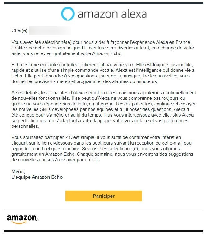 Le message d'invitation d'Amazon.