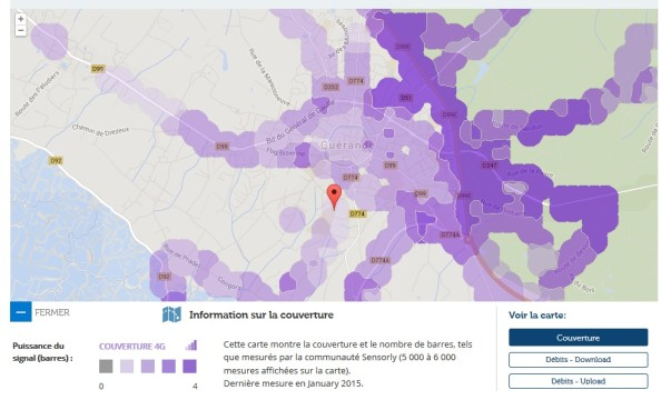 Une carte de couverture de Sensorly