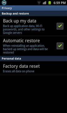 Factory Reset sur Android