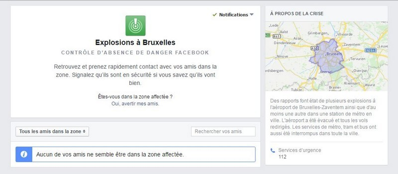 La page Safety Check de Facebook.