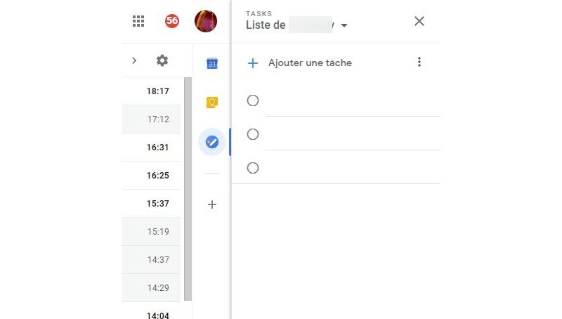 Google Tasks dans Gmail.